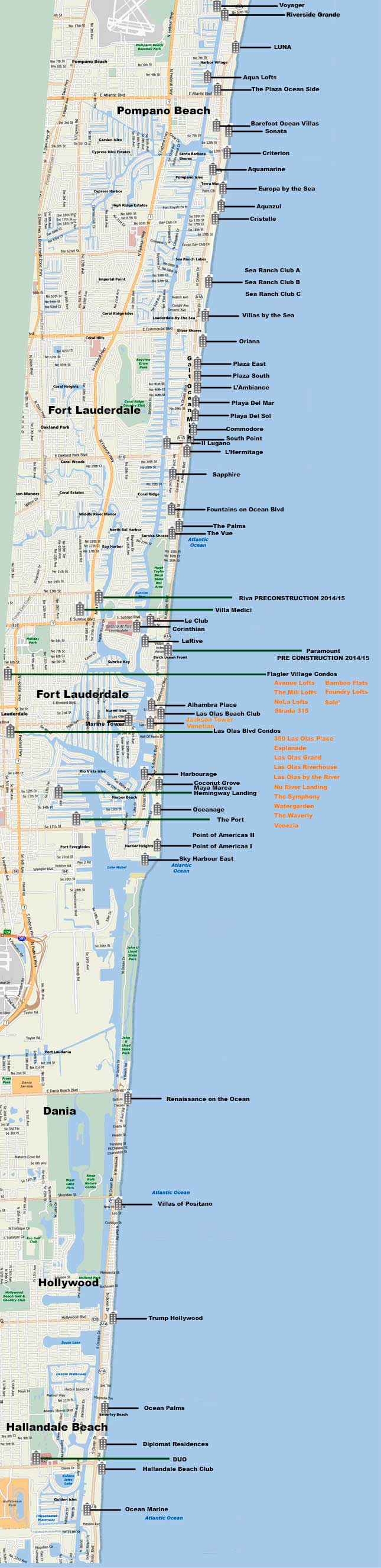 Map Of Condo Locations Fort Lauderdale Hollywood Hallandale And - Florida map hallandale